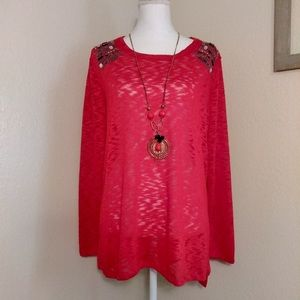 Cato Red Flowy Gemstone Top with Necklace